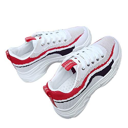 Lambskin Platforms Leather (York Zhu Women Flat Platform Shoes Breathable Sneakers Shoes Platform Flats Muffin Bottom)