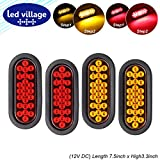 4 Pcs LedVillage 6'' kit included 2 Amber + 2 Red Free Rubber & Plug 24 Diodes SMD High Brightness Clearance Lamp Fender Marker Light Turn Tail Universal for Trailer Jeep Truck Surface Mount LED 12v DC