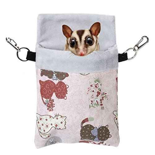 Sugar Glider Squirrels - KINTOR Sugar Gliders Sleeping Pouch Snuggle Cage Hanging Bed House for Squirrels Marmosets Rats Hamster Small Pets (M-9x6inch, Pink Cat)