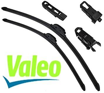 VALEO: Juego de 2 escobillas de limpiaparabrisas planos con rascadores 50/50cm: Amazon.es: Coche y moto