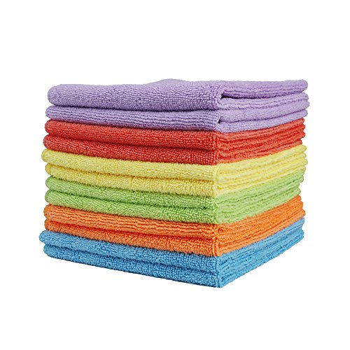 Clean Leader Microfiber Cleaning Cloths Best Kitchen Dish Cloths with Poly Scour Side,13.7 By 13.7-inch,multifunctional Microfiber Towel for Dish Towels,bath Towels,car Washing,6 Colors - 6 pieces