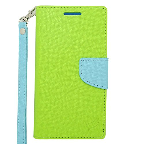 HTC Desire 610/612 Case, Insten Stand Folio Flip Leather [Card Slot] Wallet Flap Pouch Case Cover for HTC Desire 610/612 Verizon, Green/Light Blue