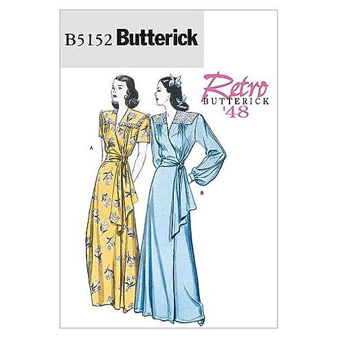 Butterick Schnittmuster 5152 BB Retro Damen Bademantel & Gürtel Gr ...