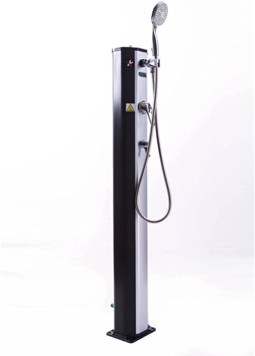 habitatetjardin Ducha Solar para Piscina PVC Fresh 8-20L + Mezclador y nebulizador - Negro y Plateado: Amazon.es: Jardín