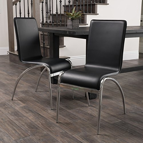 Affordable Christopher Knight Home Kensington Black Modern Chair (Set of 2) in Black