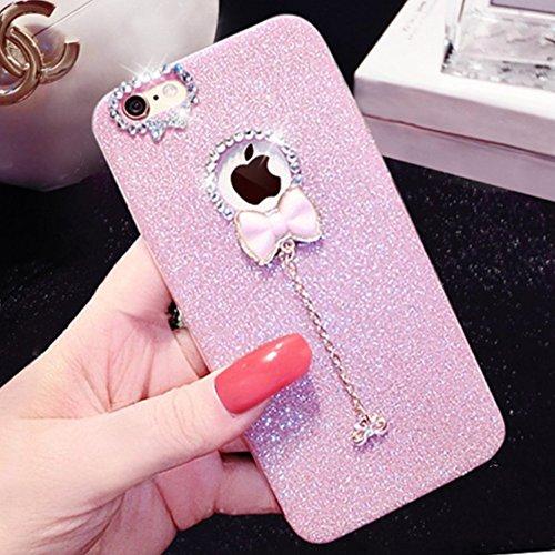 Carcasa iPhone 7 Plus/iPhone 8 Plus, Funda iPhone 7 Plus/iPhone 8 Plus Brillante, EUWLY Carcasa Caso Bling Glitter Caja del Teléfono con Brillo Colgante Diseño Alta Calidad Silicona Tapa Trasera Case  Brillante Rosa