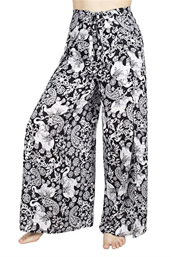 Lofbaz Women's Plain Palazzo Fisherman Rayon Wrap Pants - Elephant 8 Black - OS