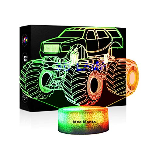 3D Illusion LED Lamps Light Monster Truck Modeling Discoloration Illuminated Sleep Table Desk Lamp for Home Office Childrenroom Theme Decoration and Kiddie Kids Children Family Holiday Gift