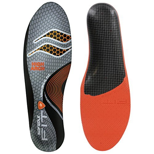 Thin Fit Insole - Sof Sole High Arch, Grey, Women's 9-10/Men's 7-8