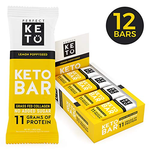 (New! Perfect Keto Bar, Keto Snack (12 Count), No Added Sugar. 10g of Protein, Coconut Oil, and Collagen, with a Touch of Sea Salt and Stevia. (12 Bars, Lemon Poppyseed))