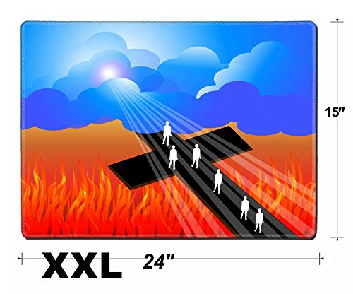 Liili Extra Large Mouse Pad XXL Extended Non-Slip Rubber Gaming Mousepad 24x15 Inch, 3mm thick Stitched Edge Desk Mat IMAGE ID: 21811489 Road to salvation ()