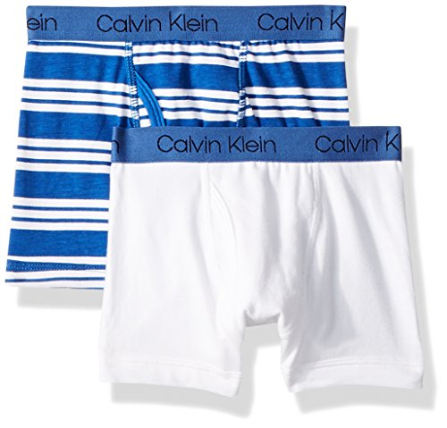 Calvin Klein Boys' Big CORE Classic 2 Pack Cotton Span Boxer Brief, Blue Simple Stripe White, (Calvin Klein Boys Underwear)