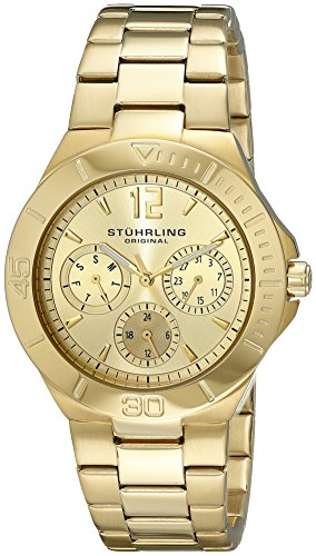 Stuhrling Original Women's 558.02 Symphony Regent Capital Quartz Day and Date Gold Tone Bracelet Watch
