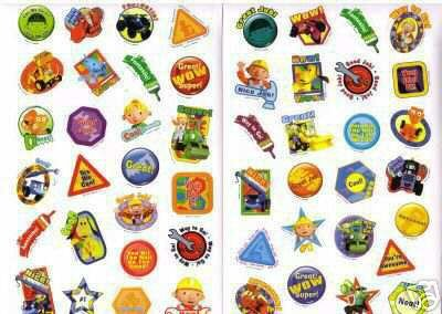 Bob The Builder Reward Stickers, Over 250 Stickers, Various Sizes & Designs, Acid Free
