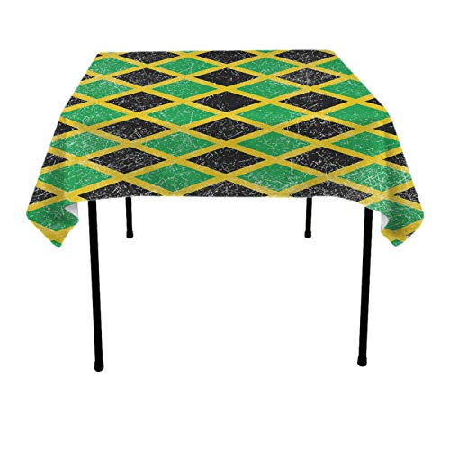 Square Tablecloth - 52 x 52 Inch - Jamaica Jamaican Flag Caribbean Square Table Cloth for Tables in Washable Polyester - Great for Buffet Table, Parties, Holiday Dinner, Wedding & More -