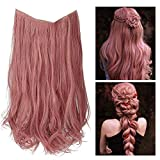 Pink Colored Halo Hair Extensions Smoky Dusty Pink Curly Short Synthetic Hairpiece 14 Inch 3.7 Oz Invisible Wire Headband for Women Girl Kid Party Heat Resistant Fiber No Clip SARLA(M04&Smoky Pink)