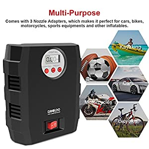 Digital Tire Inflator, GOOLOO 12V DC Air Compressor, Portable Auto Electric 150 PSI Tyre Pump with Tire Pressure Monitor and Preset for Car, Bicycle, Motorcycles, Sport Balls and Other Inflatables