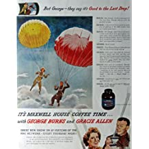 """George and Gracie Allen, parachuting, 40's Print Ad. Color Illustration 10 1/2"""" X 13 1/2"""" Print Art. (maxwell House Coffee) Oringial Vintage 1945 Collier's Magazine [Historic Art] ***Store Link [www.amazon.com/shops/ads-thru-time]"""