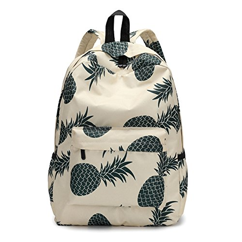- MaxFox Women Fresh Style Backpacks Students Nylon Pineapple Print Storage Bookbags Rucksack for Travel & School (C)