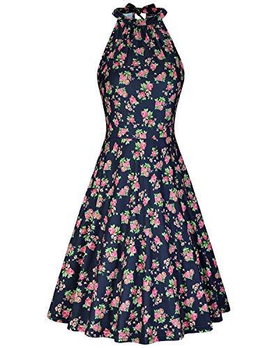 (OUGES Women's Halter Neck Floral Summer Casual Sundress(Floral-19,L))