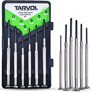 Precision Screwdriver Set (SET OF 6 WITH CASE) Flathead & Philips in 6 Different Sizes - Perfect Mini Screwdriver Bits for Jewelry Repair, Watch Repair, Eyeglass Repair, and More!