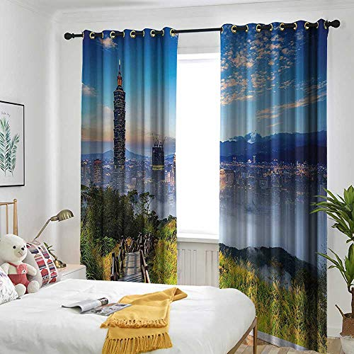 Scenery Decor Indoor/Outdoor Curtains Beautiful Scenery of a City Cosmopolitan Life and Nature with Bridge Print Darkening Thermal Insulated Blackout 96