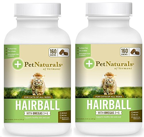Hairball Control Remedy Daily Digestive Skin and Coat Support for Cats by Pet Naturals of Vermont 160 Bite Sized Soft Chew (2 Pack - 320 Chews) Bundled with Reusable Travel Pill Pouch