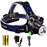 USB Rechargeable LED Headlamp Aidisun High Lumen Waterproof Headlight Zoomable Hand Free Flashlight Best for Camping Hiking Hunting Outdoor Sport or Home Emergency (18650 Battery Included)