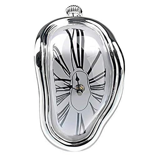 (Wall Clock HYXZ 2019 Novel Surreal Melting Distorted Surrealist Salvador Dali Style Wall Watch Decoration Gift)