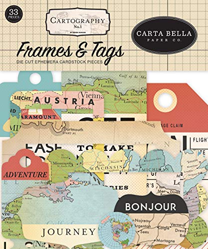 Carta Bella Paper Company CBCA97025 Cartography No. 1 Frames & Tags Ephemera, red, Blue, tan, Sepia, Yellow ()