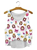 Women Fashion Emoticons Princess and Cute Stuffs Print White Sleeveless Crop Top