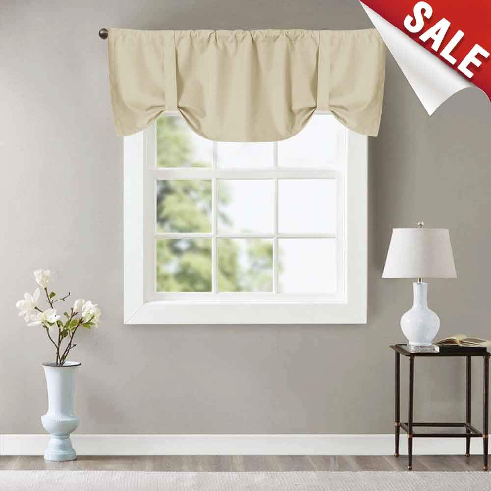 Tie up Valance Blackout Curtain with Thermal Back, Rod Pocket 18 inch, One Panel Beige CKNY HOME FAHSION BC008-5018C01