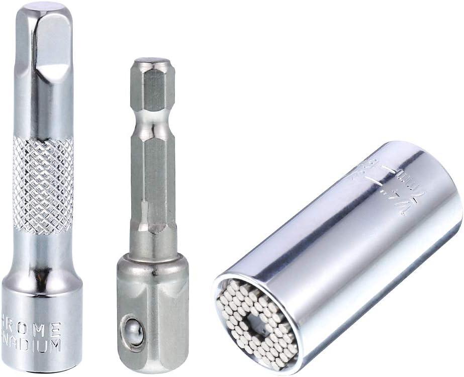Juego de llaves de vaso universales Yorgewd adaptador de llave inglesa herramienta de reparaci/ón multifunci/ón 7-19 mm adaptador de taladro el/éctrico