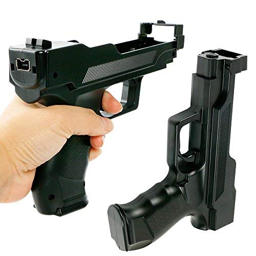 (Wii Motion Plus Gun for Nintendo Wii Controller + Wii Shooting Games (Black,Set of 2))