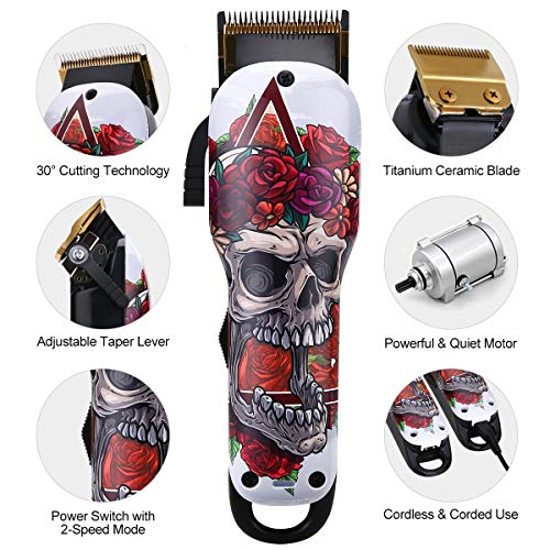 Cosyonall Professional Electric Hair Clippers for Men Rechargeable Cordless Hair Trimmer Cutting Kit with Carbon Steel Blade 8 Colorful Clipper Guards for Barbers and Stylists
