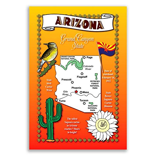 ARIZONA STATE MAP postcard set of 20 identical postcards. Post cards with AZ map and state symbols. Made in (Arizona Postcard)