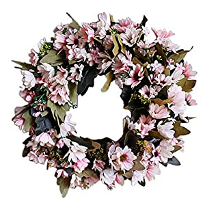 Shouyi Artificial Daisy Flower Wreaths Flowers Garland for Front Door Wall Home DIY Garden Office Wedding Decor 60