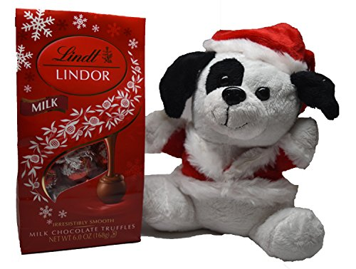 Chocolate Truffle Gift Bundle with Lindor Milk Chocolate Truffles and Stuffed Animal (Dog)