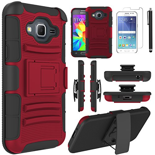 Galaxy J3 Case, Galaxy J3 V Case, EC™ Hybrid Holster Case, Dual Layers Armor Case with Kickstand and Locking Belt Swivel Clip for Samsung Galaxy J3 2016/ J3 V (Red/Black)