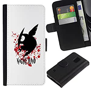 LECELL--Cuero de la tarjeta la carpeta del tirón Smartphone Slots Protección Holder For Samsung Galaxy S5 V SM-G900 -- Raid Noche --