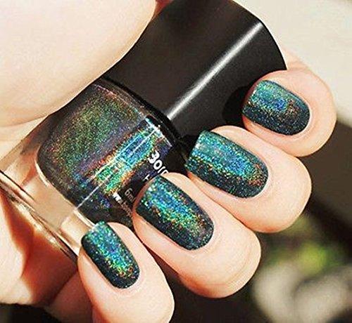 1Pc Nail Polish Agile Pretty Varnish Hologram Holographic Holo Volume 6ml Color Black