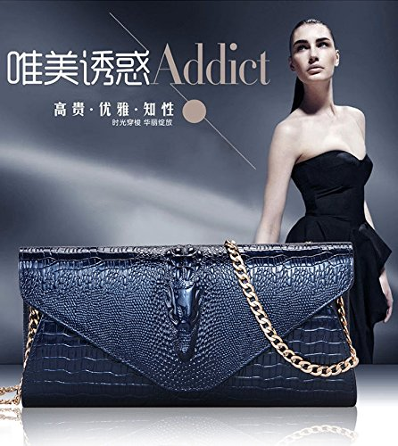 Leather Crocodile Women's Eastylish Blue Party Genuine Purse Shouder Wax Cow Bag Handbag TqwIAfXw