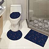 jwchijimwyc Astrology 3 Piece Toilet Cover set Solar System Planet Astronomy Cosmos Galaxy Mysterious Universe pattern Dark Blue Orange Turquoise