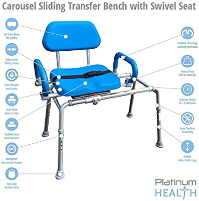 Carousel Sliding Transfer Bench with Swivel Seat. Premium PADDED Bath and Shower Chair with Pivoting Arms. Space Saving Design for Tubs and Shower.