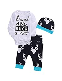 Newborn Baby Girls Boy Letter Long Sleeve Tops Romper Deer Pants Hat 3pcs Outfits Set