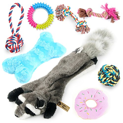 Critter Mamas Puppy Chew Toys and Small Dog Toy Set (8 Pack) -Natural Cotton Dog Rope Toys for Puppy Teething and Dental Cleaning -No Stuffing Plush Squeaker Toy -Great New Puppy Starter Kit ()