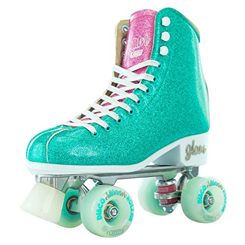 Crazy Skates Glam Roller Skates for Women and Girls | Dazzling Glitter Sparkle Quad Skates | Teal with Purple (Size 3)