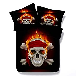 3D Halloween Bedding Fire Skull Red Ribbon Duvet Cover Twin Full Queen king Cal King Size Pillow Covers Bedspreads for Men Boys Adults Teens Home Decoration (Twin)