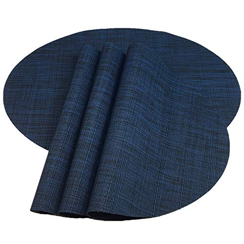 Red-A Placemats, Imitation Bamboo Oval Woven Vinyl Heat Resistant Placemats Washable Table Mats for Kitchen Table. (Set of 4, Navy Blue) (Table Blue Navy Mats)