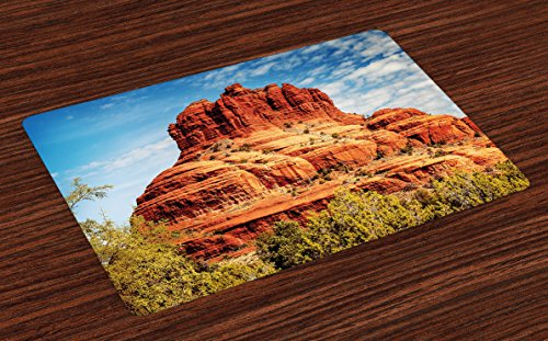 Lunarable Western Place Mats Set of 4, Famous Bell Rock and Courthouse Butte in Sedona Arizona USA Nature Desert, Washable Fabric Placemats for Dining Room Kitchen Table Decor, Cinnamon Blue Green (Places Arizona)